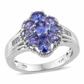 Premium AAA Tanzanite, White Topaz Platinum Over Sterling Silver Ring (Size 9.0) TGW 2.32 cts.