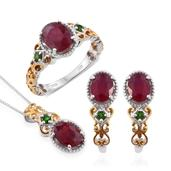 Niassa Ruby, Russian Diopside 14K YG and Platinum Over Sterling Silver J-Hoop Earrings, Openwork Ring (Size 7) and Pendant With Chain (20 in) TGW 8.74 cts.