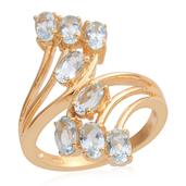 Nitin's Knockdown Deals Espirito Santo Aquamarine 14K YG Over Sterling Silver Bypass Ring (Size 5.0) TGW 1.60 cts.