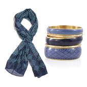 Mother's Day Blue 100% Natural Mulberry Silk Quatrefoil Dots Blue Printed Scarf with Goldtone Matching Bangle Set (70x19 in)