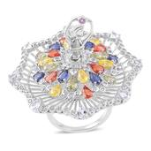 Multi Sapphire, White Topaz Sterling Silver Twirling Ballerina Statement Ring (Size 6.0) TGW 8.14 cts.