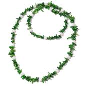 Green Bamboo Coral, Freshwater Pearl Chips Endless Necklace (36 in) TGW 340.00 cts.