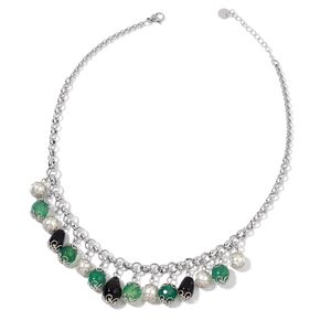 Green Agate, Simulated Pearl, Black Onyx Stainless Steel Drop Charm Necklace (18 in) TGW 105.00 cts.