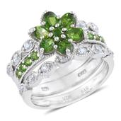Russian Diopside, Cambodian Zircon Platinum Over Sterling Silver Ring (Size 8.0) TGW 2.57 cts.
