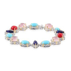 Multi Gemstone 14K YG and Platinum Over Sterling Silver Bracelet (8.00 In) TGW 27.00 cts.