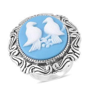 Cameo Stainless Steel Love Birds Ring (Size 8.0)