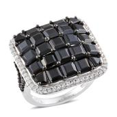 Thai Black Spinel, Cambodian Zircon Platinum Over Sterling Silver Ring (Size 7.0) TGW 13.55 cts.