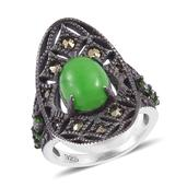 Burmese Green Jade, Russian Diopside, Swiss Marcasite Black Rhodium and Platinum Over Sterling Silver Ring (Size 6.0) TGW 3.82 cts.