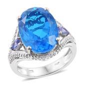 Karen's Fabulous Finds Caribbean Quartz, Tanzanite, Cambodian Zircon Platinum Over Sterling Silver Ring (Size 7.0) TGW 14.48 cts.