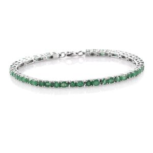 Kagem Zambian Emerald Platinum Over Sterling Silver Tennis Bracelet (7.50 In) TGW 6.38 cts.