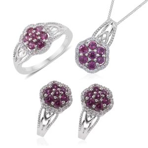 Mahenge Umbalite, Cambodian Zircon Platinum Over Sterling Silver J-Hoop Earrings, Ring (Size 8) and Pendant With Chain (20 in) TGW 4.12 cts.