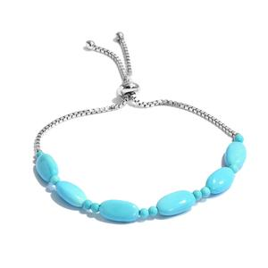 Arizona Sleeping Beauty Turquoise Platinum Over Sterling Silver Bracelet TGW 14.820 cts.