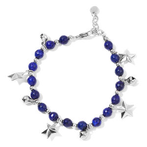 Lapis Lazuli Stainless Steel Bracelet with Star Charm (7.00-8.25in) TGW 25.50 cts.