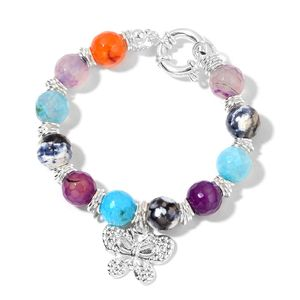 Multi Color Agate Stainless Steel Bracelet with Butterfly Charm (8.00 In) TGW 110.00 cts.