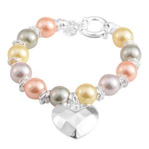Shell Pearl Stainless Steel Bracelet (8.00 In)