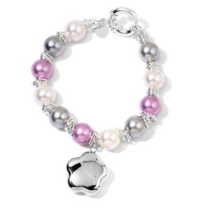 Simulated Gray and Purple Pearl Stainless Steel Bracelet with Charm (7.50 In)