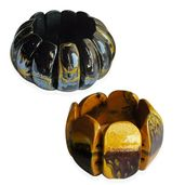 Black and Golden Wooden Abstract Set of 2 Bracelets (Stretchable)