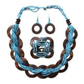 Blue Seed Bead, Wooden Silvertone Bracelet (Stretchable), Earrings and Necklace (20.00 In)