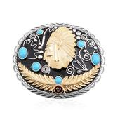 Arizona Sleeping Beauty Turquoise 14K YG Over and Sterling Silver Buckle TGW 1.85 cts.