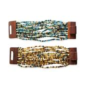 Brown and Blue Glass Beads Set of 2 Bracelets with Wooden Lock (Stretchable)