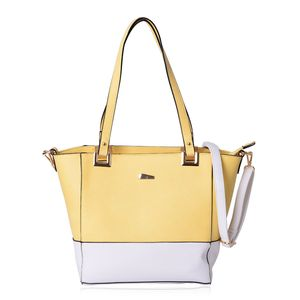 Pastel Yellow and White Faux Leather Tote with Standing Studs and Removable Strap (11x5.5x11 In)
