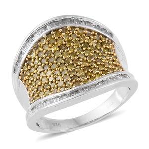 Yellow Diamond (IR), Diamond Yellow Rhodium & Platinum Over Sterling Silver Ring (Size 10.0) TDiaWt 2.05 cts, TGW 2.05 cts.