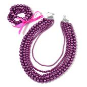 Simulated Purple Pearl Silvertone Set of 5 Bracelets (Stretchable) and Multi Strand Drape Necklace (20.00 In) TGW 1750.50 cts.