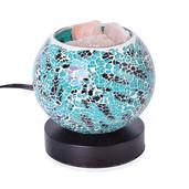 Handcrafted Aqua and Black Mosaic Electric Lamp with Himalayan Salt (5 in)