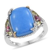Ceruleite, Multi Gemstone 14K YG and Platinum Over Sterling Silver Ring (Size 8.0) TGW 8.60 cts.