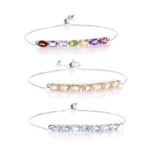 Mega Clearance Set of 3 Multi Gemstone Platinum Over Sterling Silver Bolo Bar Bracelets (Adjustable) TGW 11.15 cts.