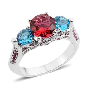 Simulated Rubellite and Blue Topaz Silvertone Royal Ring (Size 6.0) TGW 2.80 cts.