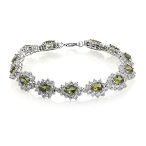 Forte Dauphin Apatite, White Topaz Platinum Over Sterling Silver Bracelet (8.00 In) TGW 21.54 cts.
