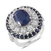 Dan's Collector Deal Kanchanaburi Blue Sapphire, White Topaz Platinum Over Sterling Silver Statement Ring (Size 10.0) TGW 12.10 cts.