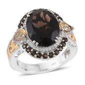 Brazilian Smoky Quartz, Multi Gemstone 14K YG and Platinum Over Sterling Silver Ring (Size 6.0) TGW 10.59 cts.