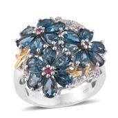 London Blue Topaz, Thai Ruby, Cambodian Zircon 14K YG and Platinum Over Sterling Silver Floral Ring (Size 10.0) TGW 8.95 cts.