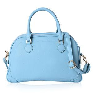 Pastel Blue Faux Leather Side-to-side Trapezoid Bag with Removable Shoulder Strap (14x5x9 in)