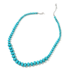 Magnesite Beads Silvertone Necklace (18 in) TGW 250.00 cts.