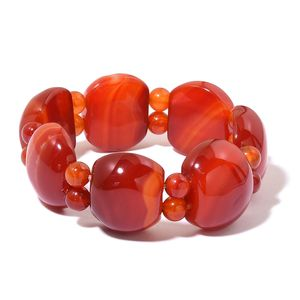 Red Agate Bracelet (Stretchable) TGW 532.00 cts.