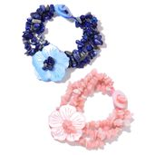 Lapis Lazuli, Peruvian Pink Opal Chips, Pink and Blue Shell Set of 2 Bracelets (8.00 In) TGW 392.50 cts.