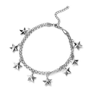Kevin's Presidential Deal Stainless Steel Super Stars Charm Anklet (9 in)