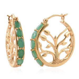 Kagem Zambian Emerald 14K YG Over Sterling Silver Inside Out Hoop Earrings TGW 2.50 cts.