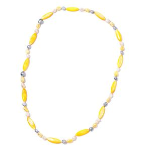 Freshwater Multi Color Pearl, Yellow Shell Pearl Necklace (32 in)