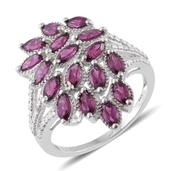 Purple Garnet, Diamond Accent Platinum Over Sterling Silver Ring (Size 5.0) TGW 3.36 cts.