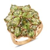 Hebei Peridot, Madagascar Pink Sapphire 14K YG Over Sterling Silver Ring (Size 7.0) TGW 9.98 cts.