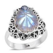 Artisan Crafted Sri Lankan Rainbow Moonstone Sterling Silver Carved Ring (Size 6.0) TGW 8.56 cts.