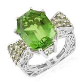Chartreuse Quartz, Hebei Peridot Platinum Over Sterling Silver Ring (Size 5.0) TGW 15.73 cts.