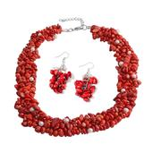 Bamboo Coral, Freshwater Pearl Stainless Steel Earrings and Necklace (18 in) TGW 585.50 cts.