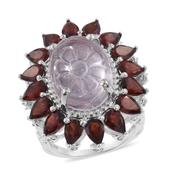 Galilea Rose Quartz Carved, Mozambique Garnet, Cambodian Zircon Platinum Over Sterling Silver Ring (Size 6.0) TGW 22.32 cts.