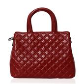 Red Genuine Leather Checker Stitched Structure Bag with Removable Shoulder Strap (45 in)(11x4.5x9 in)