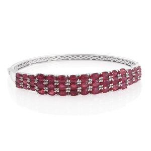 Niassa Ruby (FF) Platinum Over Sterling Silver Bangle (8.25 in) TGW 24.55 cts.